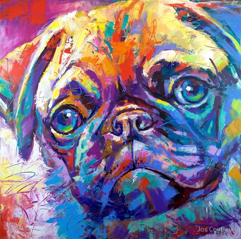 Pug In Vibrant Colours Photographic Print Pop Art Animals Dog
