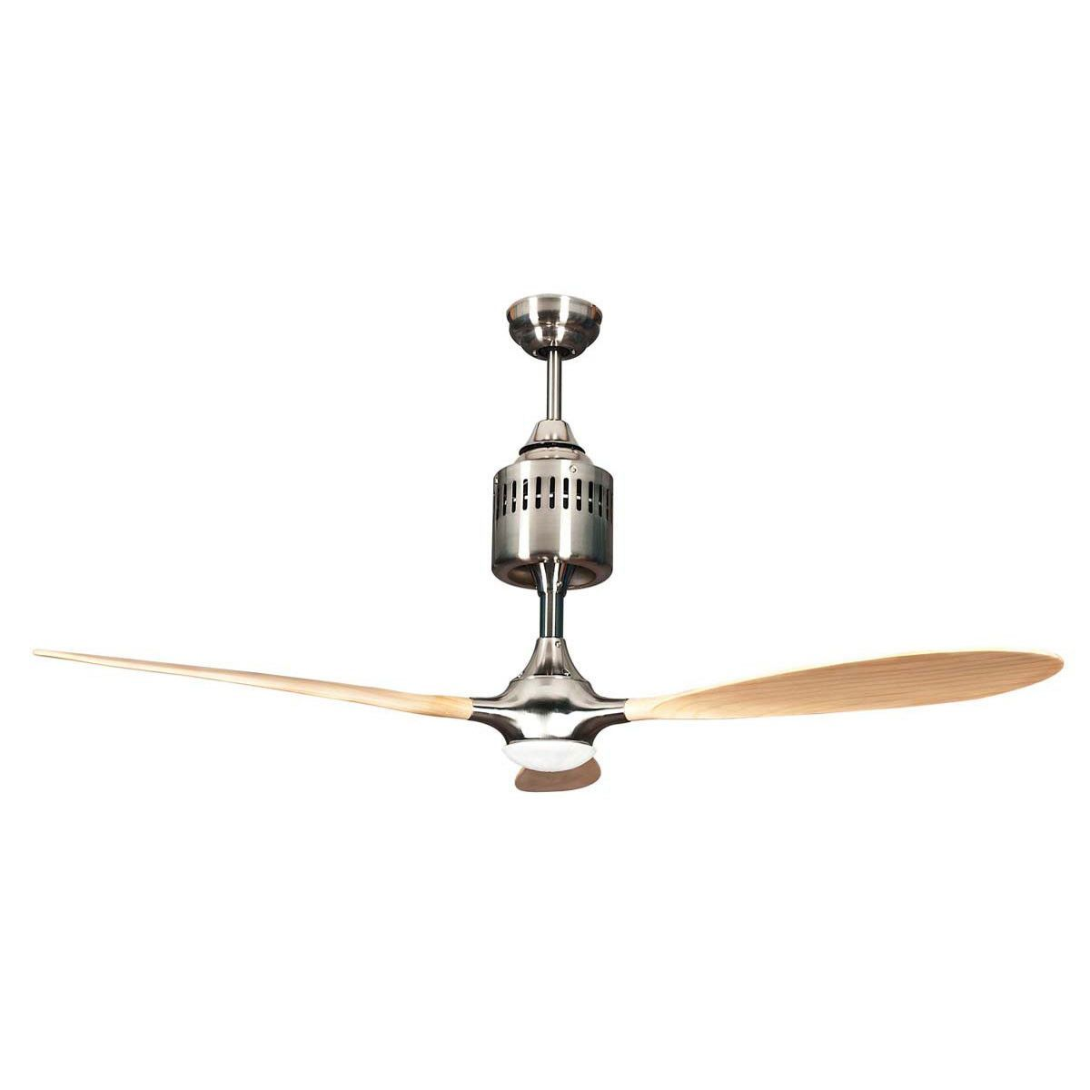 Concord Fans 60 Pilot Modern Stainless Steel Ceiling Fan With Light Remote