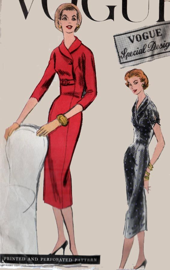 1950s Sheath Dress with Shawl Collar Vogue Special Design 4718 ...