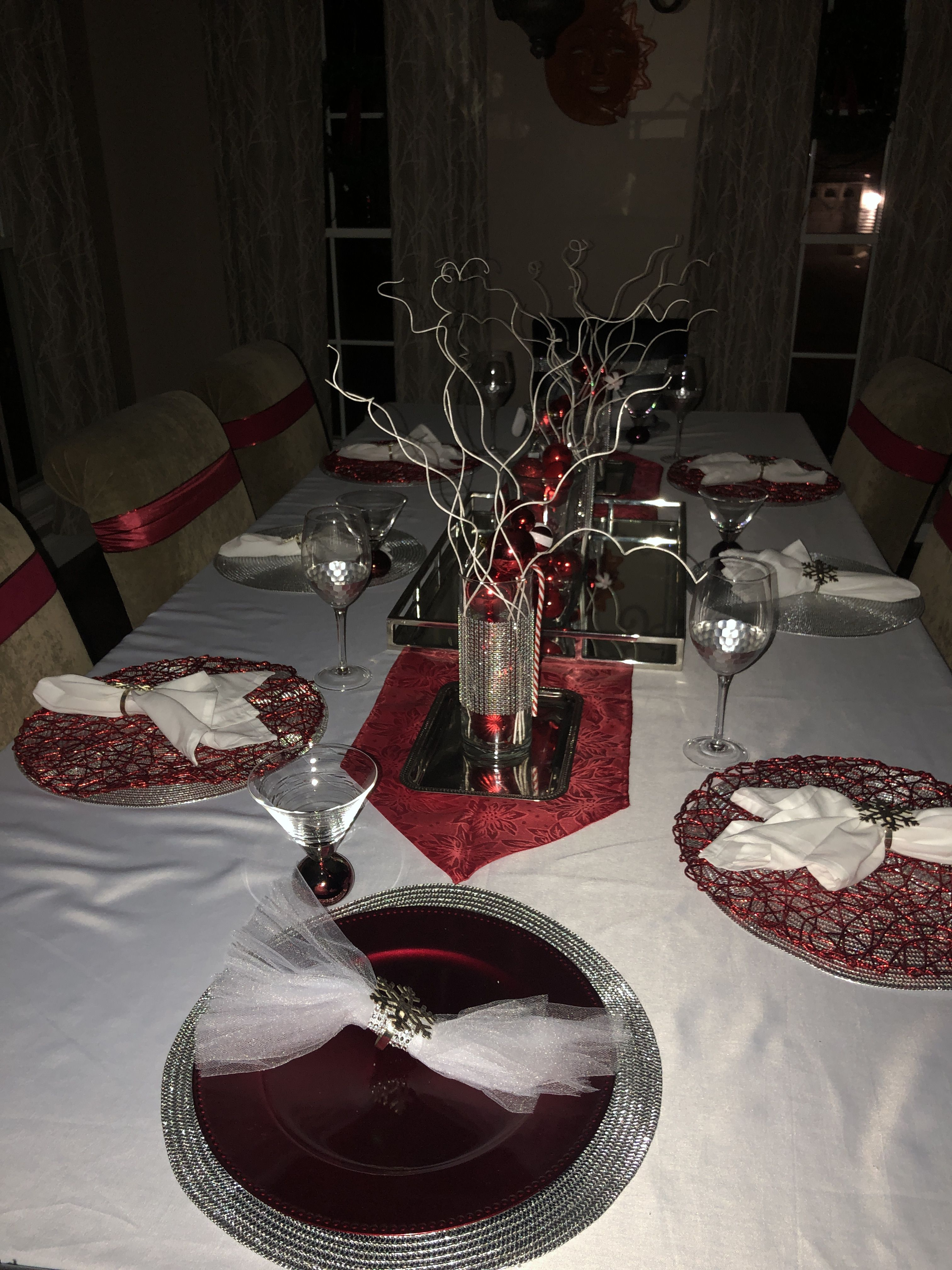 Red Silver White Christmas Table Christmas Table Table Decorations White Christmas