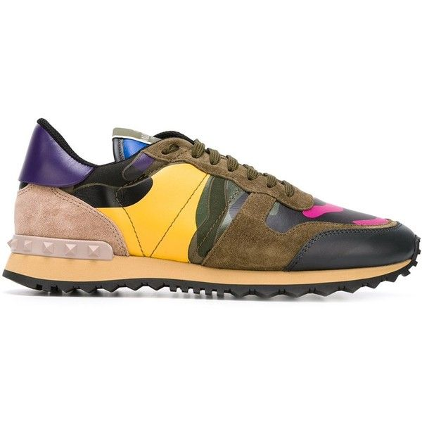 Valentino Garavani 'Rockrunner' sneakers ($915) via Polyvore featuring shoes, sneakers, green, lacing sneakers, green shoes, camouflage sneakers, colorful sneakers and green leather shoes