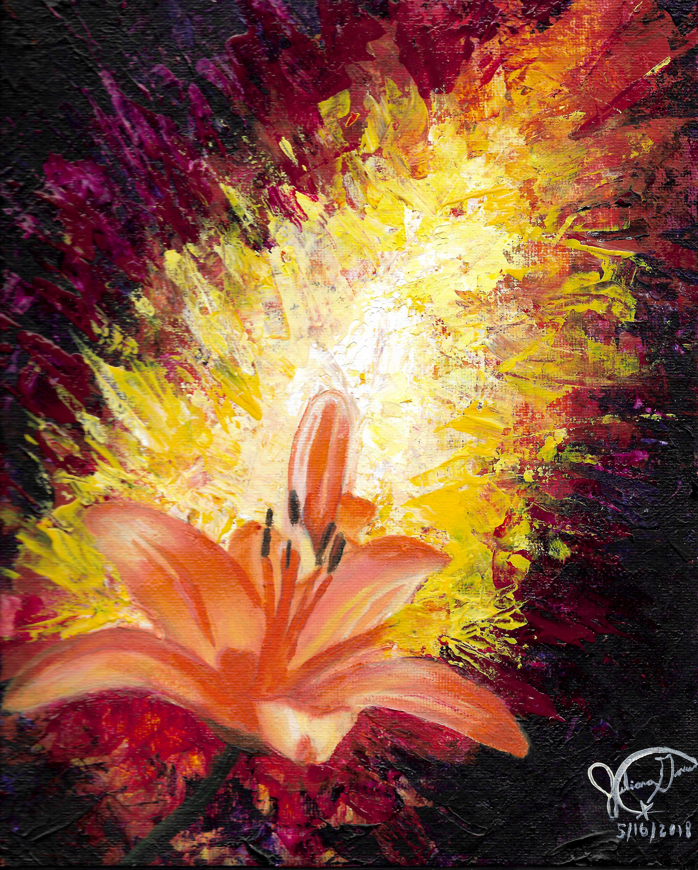 Here is a close up of the quick flower painting I made the