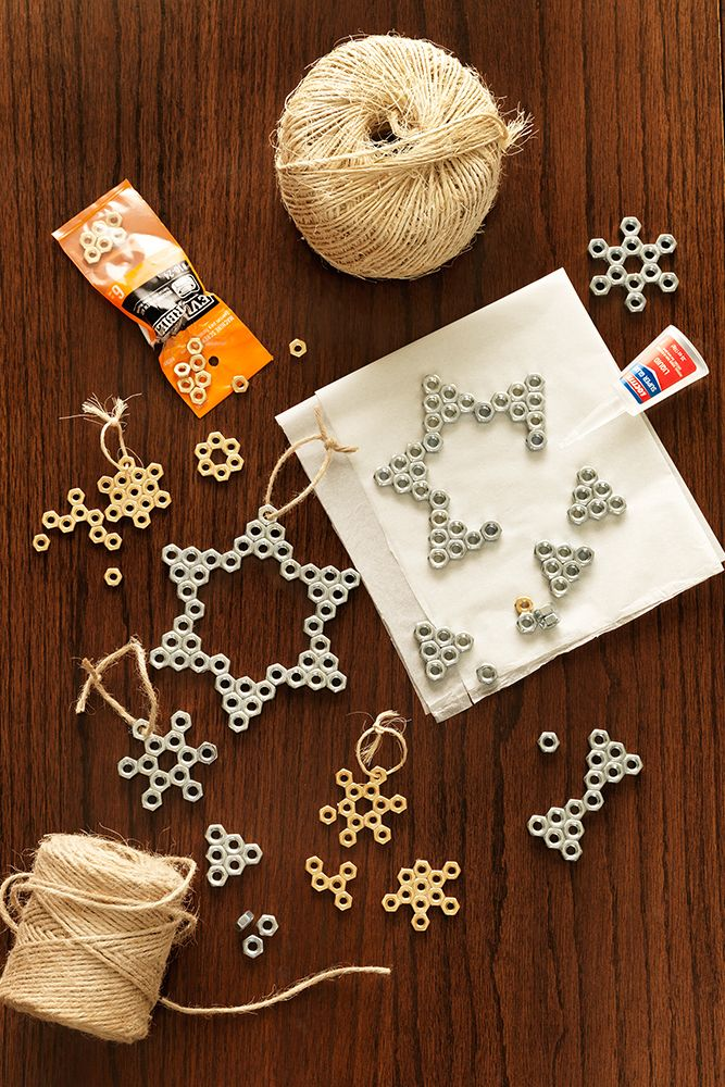 They say every snowflake is unique; and this DIY hex nut Christmas ornament is certainly a unique holiday craft project. Stop by a Home Depot store or order online everything it takes to make your own snowflake ornaments. Click through for the materials you'll need.