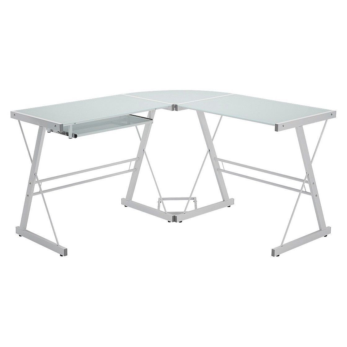 Corner glass metal computer desk white office pinterest