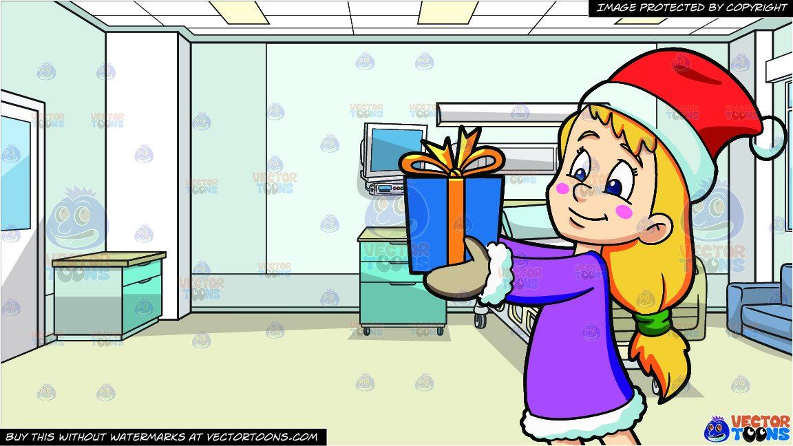 A Girl Giving Her Christmas Gift and Inside A Hospital