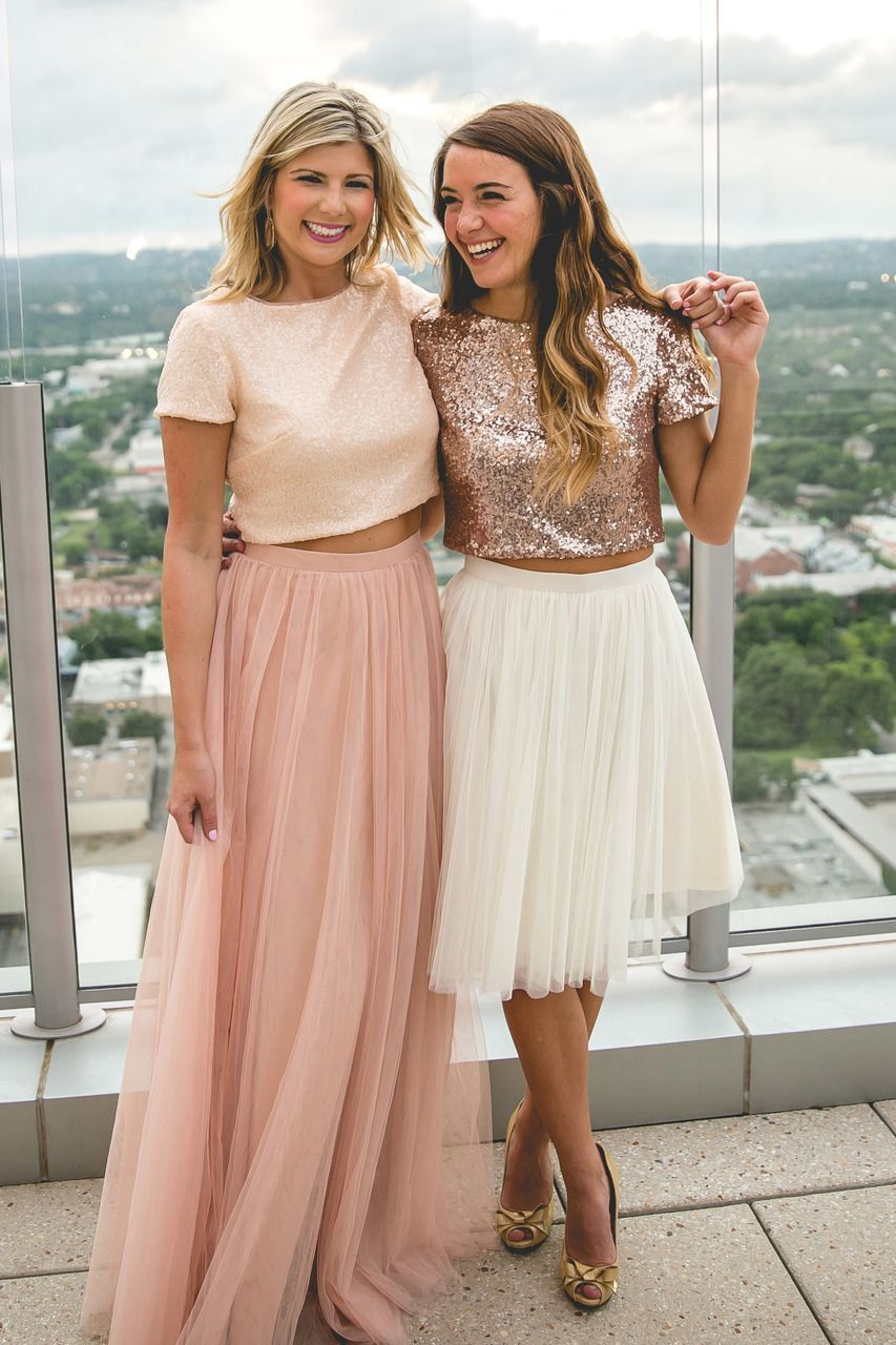 Two piece round neck rose gold tulle bridesmaid dress in
