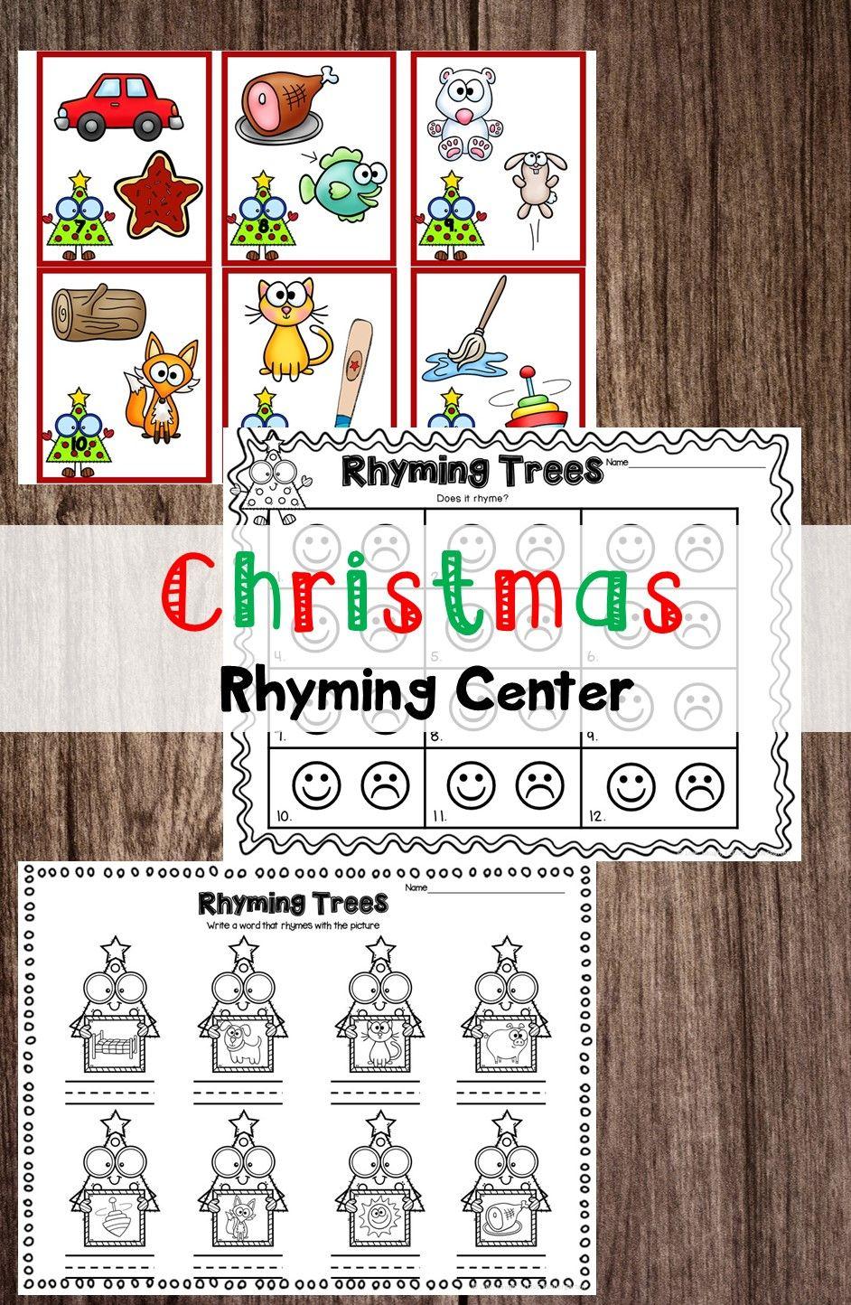 Rhyming Center Rhyming Worksheet Christmas Rhyming Kindergarten Resources [ 1444 x 942 Pixel ]