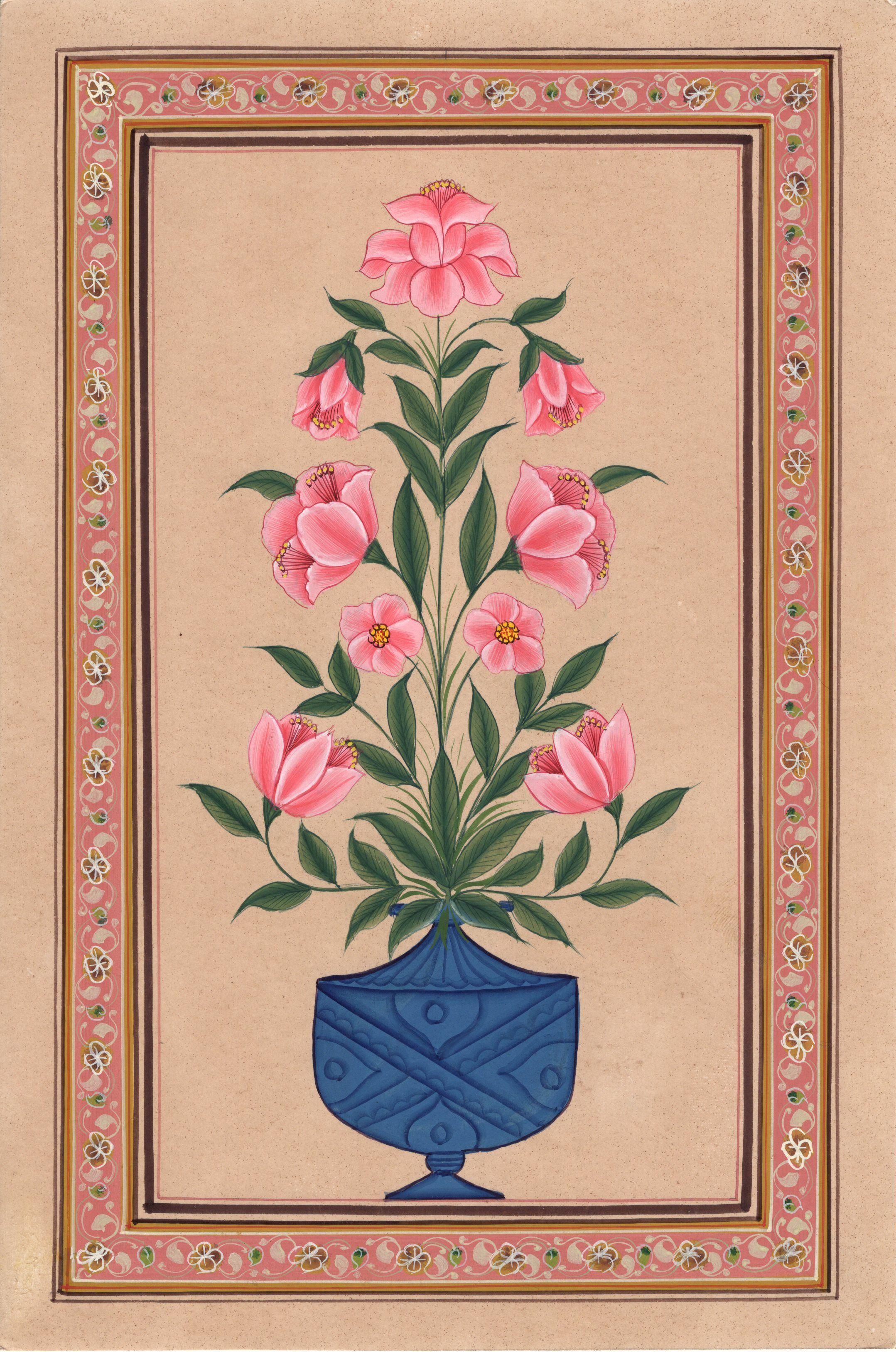 Mughal floral miniature painting moghul indian handmade nature lotus mughal floral miniature painting moghul indian handmade nature lotus flower art izmirmasajfo