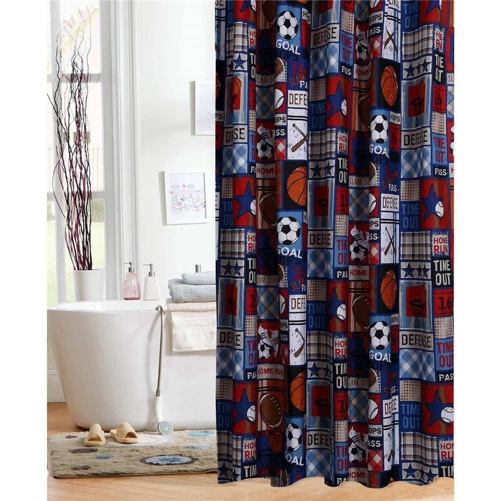 Boys Blue Red Sports Collage All Star Sporty Fabric Shower Curtain