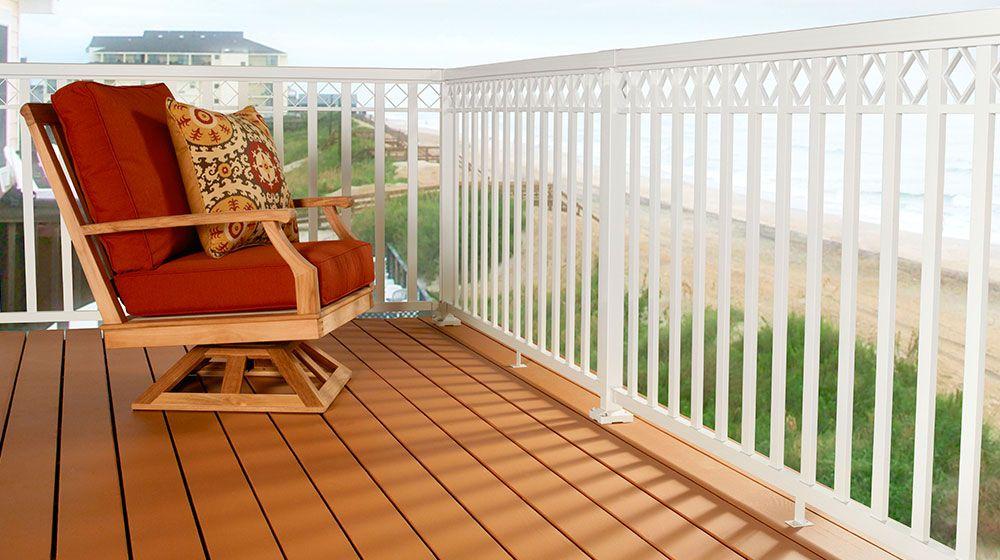 White Aluminum Railing With Decorative Spacers Aluminum Railing Railing Porch Swing