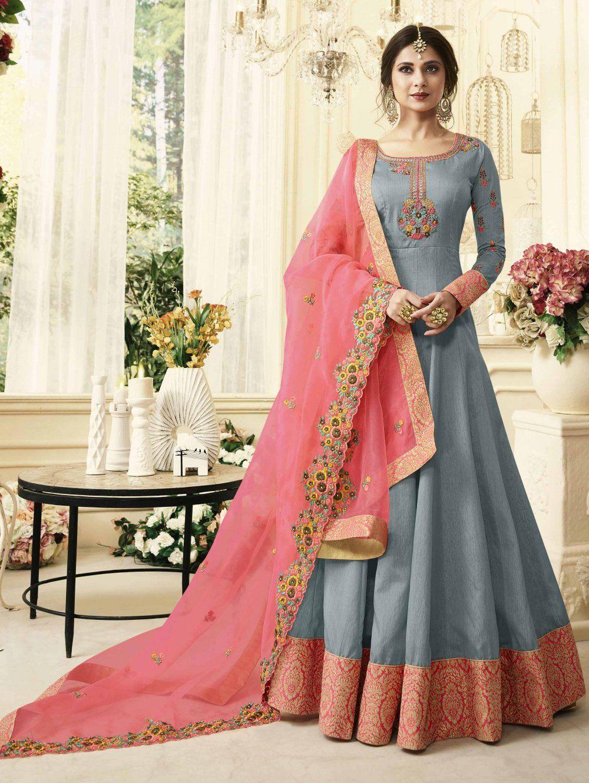 d422fff565 Buy Jennifer Winget Grey Banarasi Jacquard Anarkali Suit with Embroidered  Dupatta - SKDAM7683