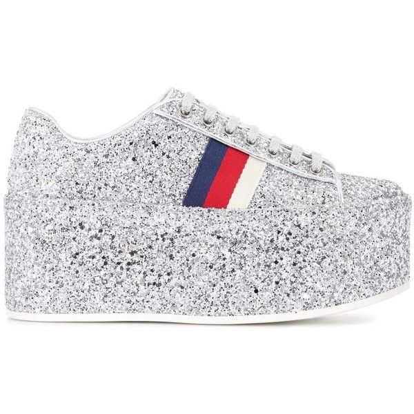 112d0666480 Gucci Glitter Platform Sneakers ( 645) ❤ liked on Polyvore featuring shoes