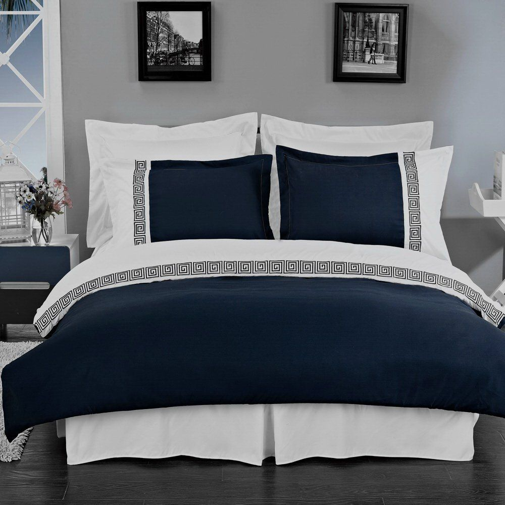 Amazon Com Hotel Style Greek Key Navy Blue And White