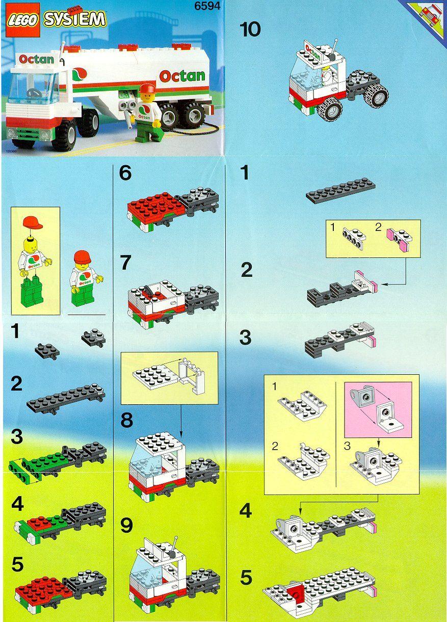 Town Octan Gas Tanker Lego 6594 Lego Instructions Pinterest