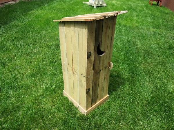 This Guy Makes Mini Outhouses To Cover Utility Bo Contact About Outhouse Fire Pit Propane Tank See Email For Info