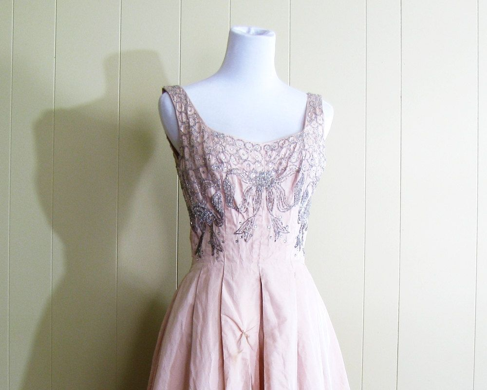 S prom dress xs s tea length full skirt by blythehopesvintage