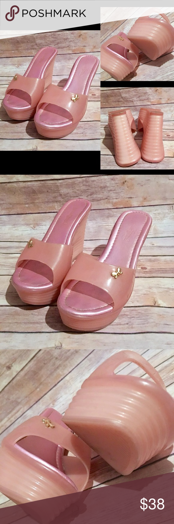 b866f0cf17f5 Baby Pink Jelly Marshmallow Wedges Killer 7.5-8.5 Good condition. Golden  butterfly charmed.