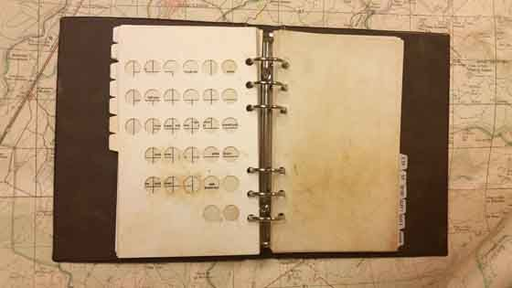 A Munsell Soil Book Chart laid over a map, the book is dirty from ...