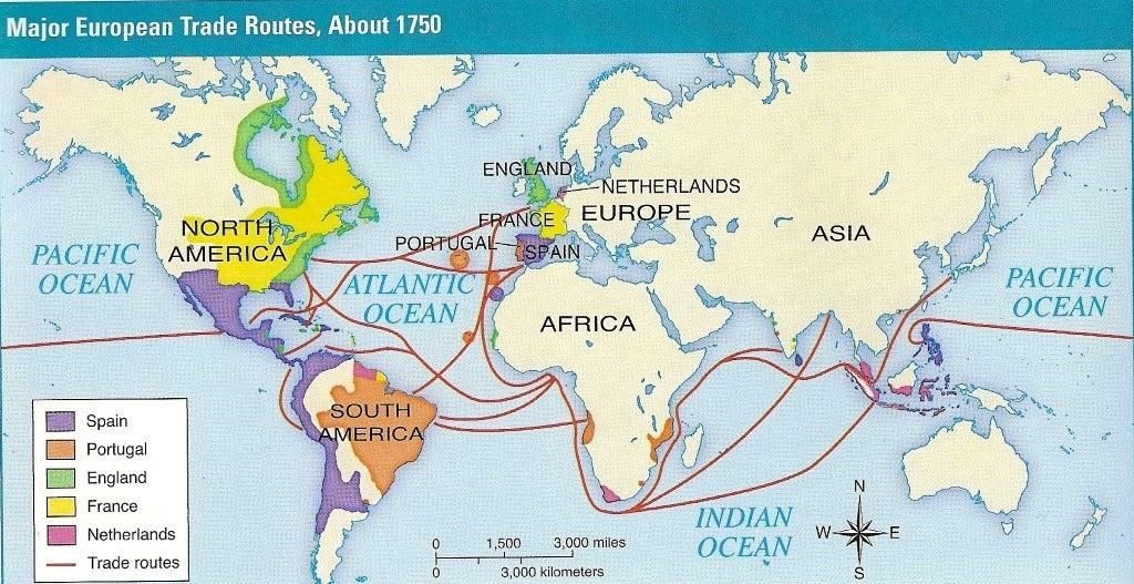 Major European Trade Routes About 1750 Explorer Map World
