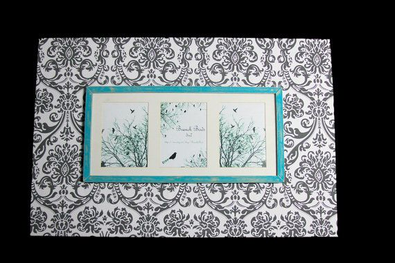 Triple 5X7 Frame in grey damask with turqouise by BranchBirds, $99.00- I can totally make this,