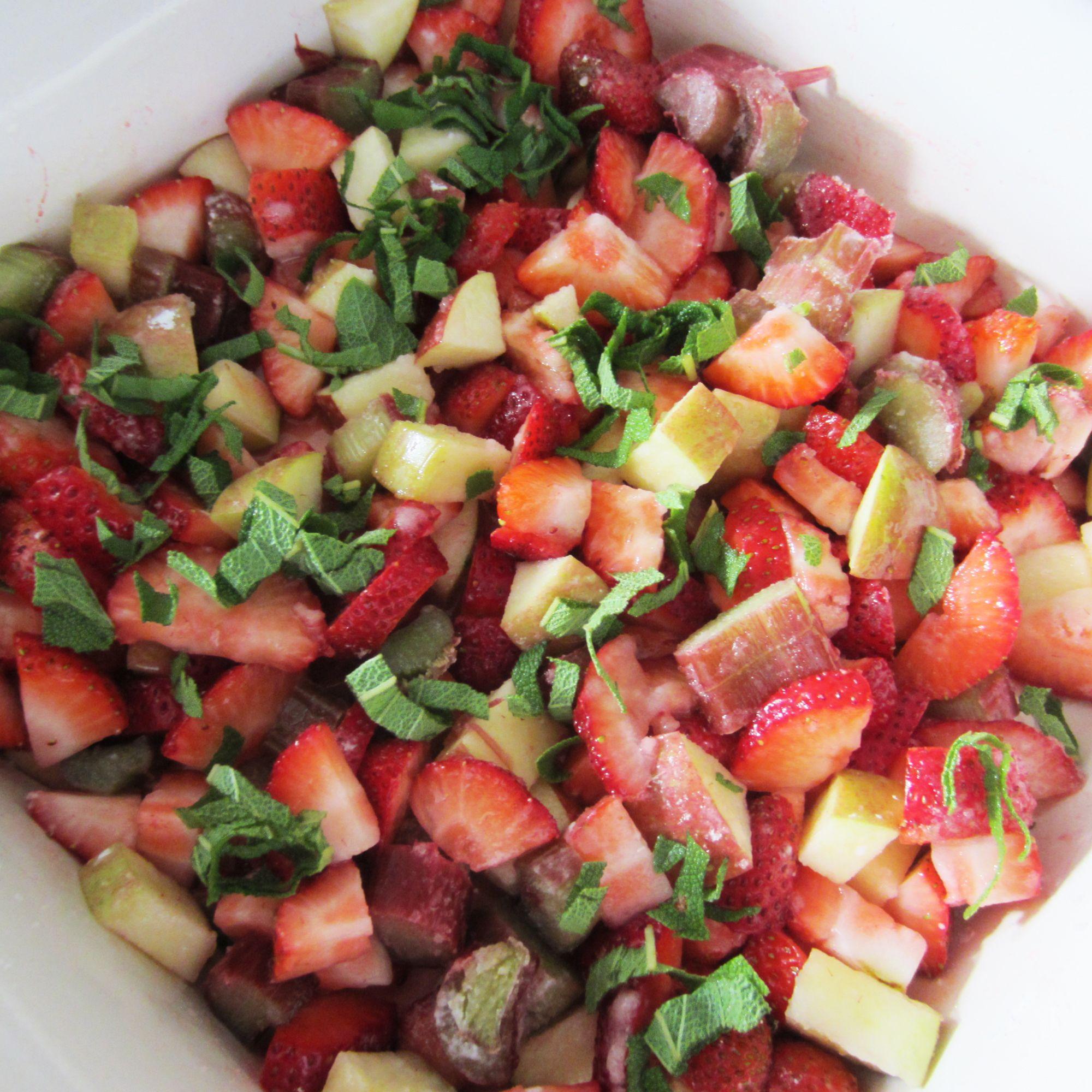 Gluten Free Strawberry Rhubarb Basil & Apple Crisp