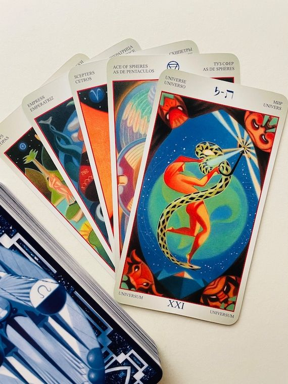 Tarot Liber T is beautiful pictorial cards that reflect the art and magic of the Hermetic traditions, the Egyptian sacred decans, the astrology of the Order of the Golden Dawn and the esoteric truths of the Book of Thoth. The deck is so colorful and contains such a large amount of esoteric symbolism that each card can be studied for many minutes. Each time the same card may appear to you from a unknown side. This deck is a great tool for meditation, immersion in oneself in search of meaning and
