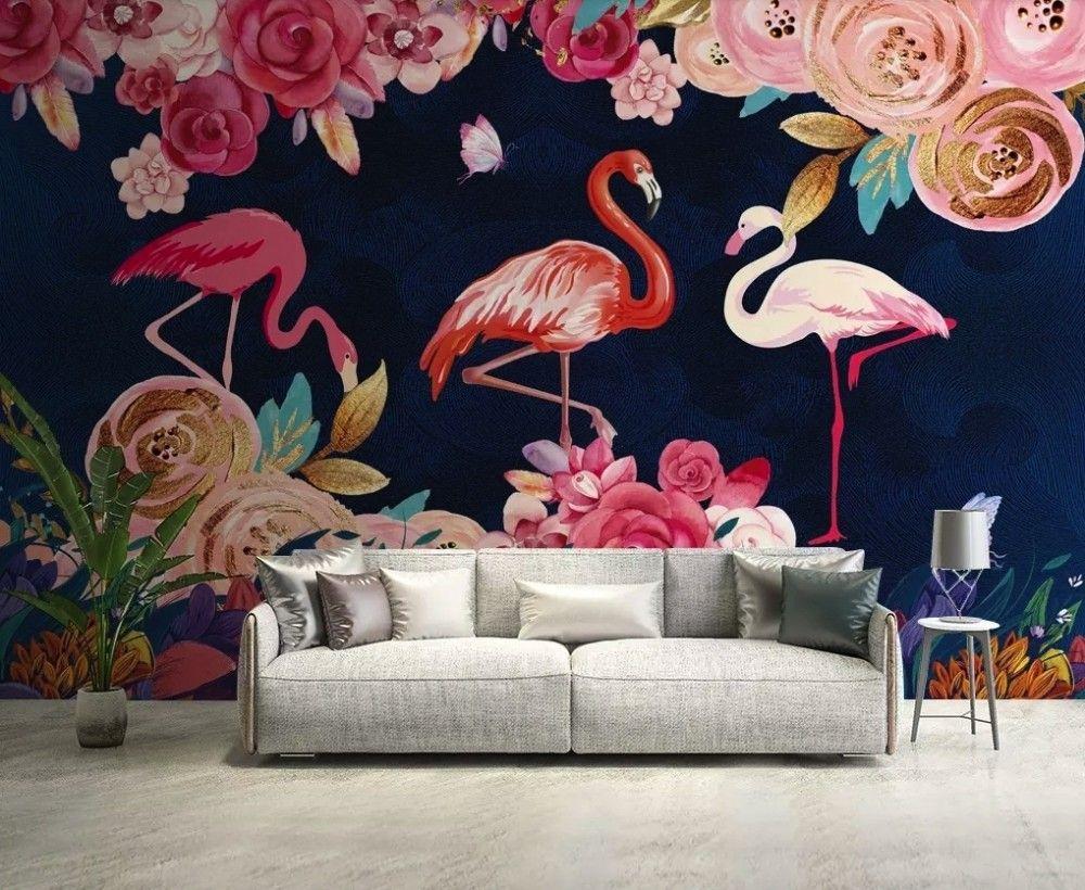 Pink Flamingo and Roses Wallpaper Mural Flamingo