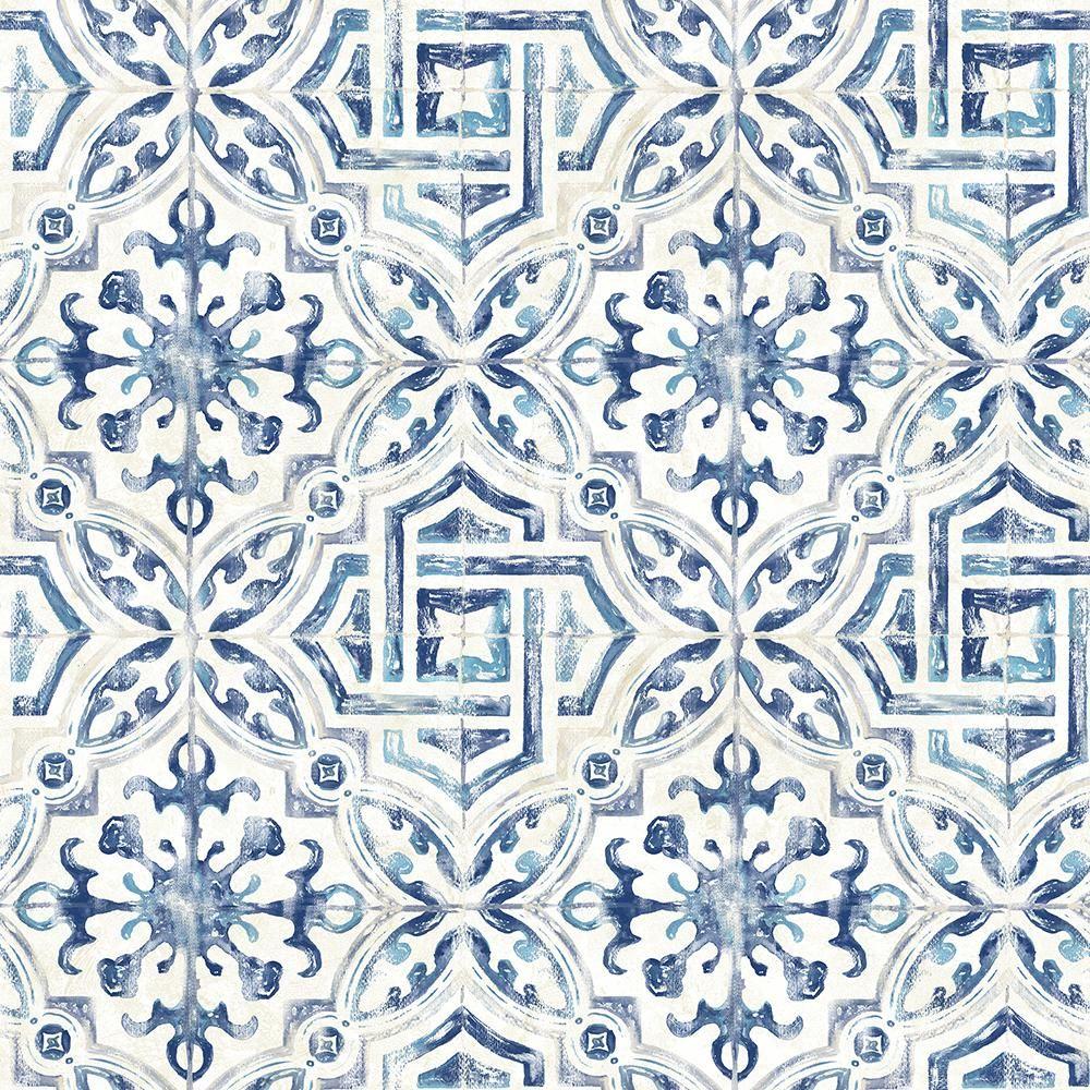 Chesapeake Sonoma Blue Spanish Tile Blue Wallpaper Sample 3117 12332sam The Home Depot Tile Wallpaper Spanish Tile Geometric Wallpaper Alexis spanish tile wallpaper