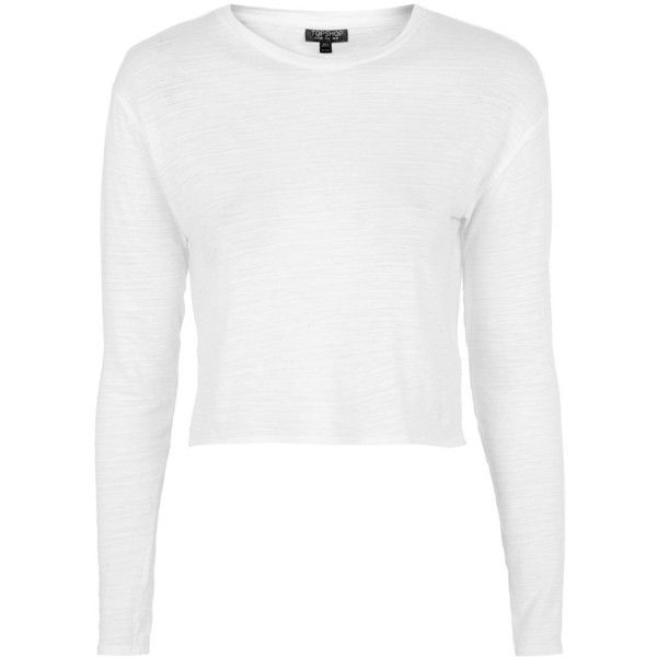 f54ccba8fe39 TopShop Long Sleeve Slubby Crop Top ( 8.71) ❤ liked on Polyvore featuring  tops