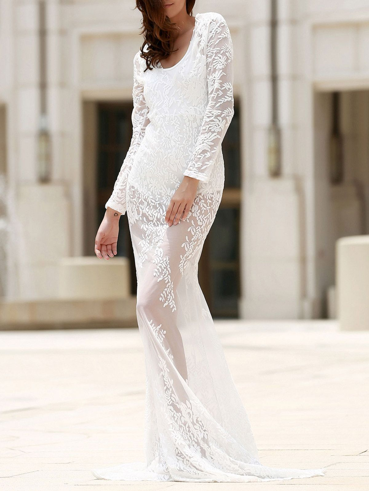 Prom plunging neck long sleeve lace dress summer inspiration