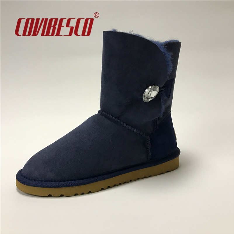 34.98$  Buy now - http://alitim.shopchina.info/go.php?t=32789706218 - COVIBESCO Women Australia Classic Genuine Leather Mid-calf Snow Boots Winter Boots Flats Warm Cow Suede Snow Boots   #buymethat