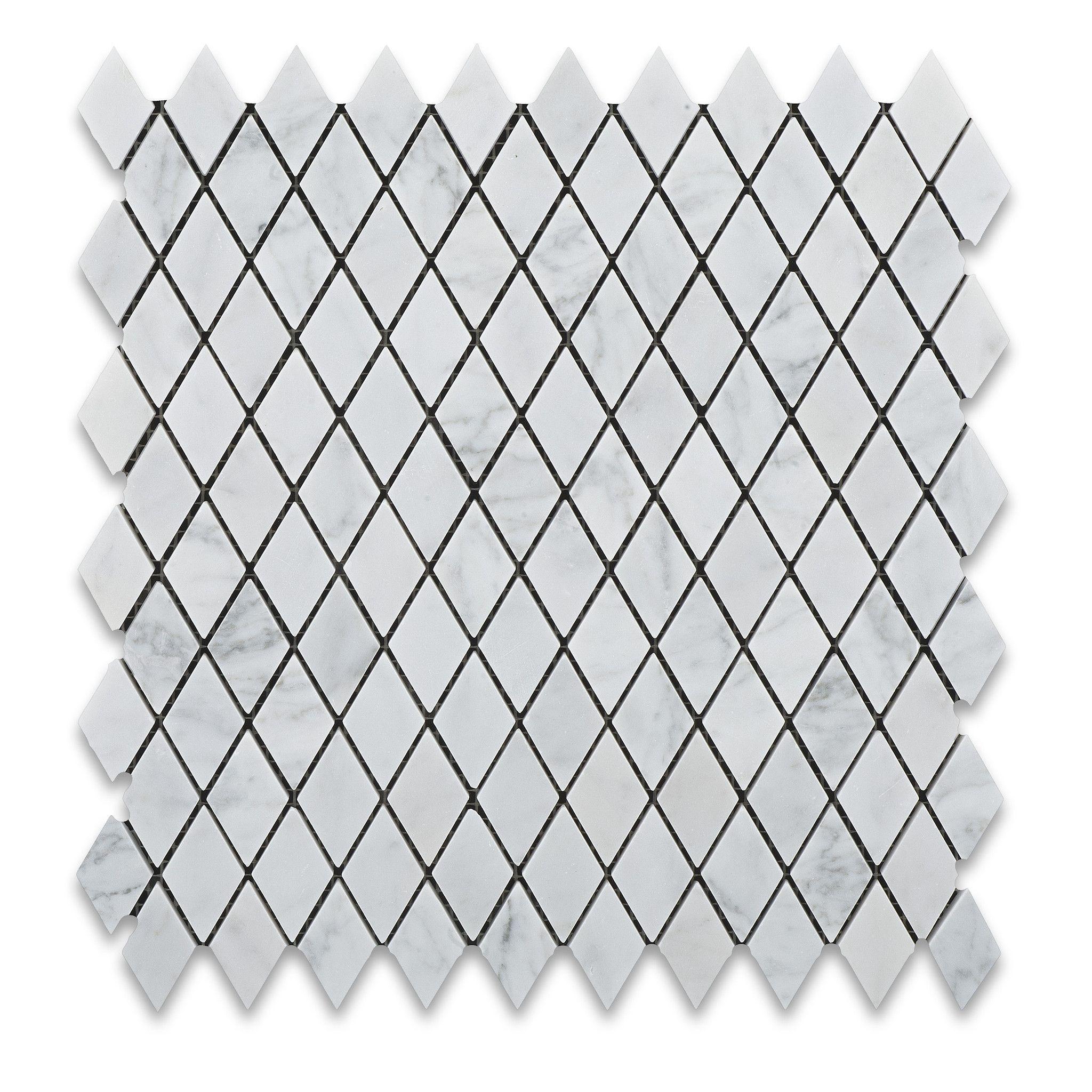 "Buy Carrara White Marble Honed 1"" Diamond Mosaic Tile Sample Product Attributes - Item: Premium (SELECT) Quality 1"" Italian Carrara White Marble DIAMOND / RHOMBOID HONED MOSAIC TILE (ON-MESH) - Dimens"