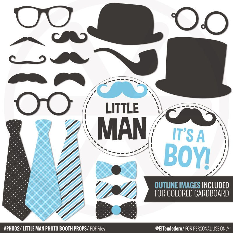 Little Man Photo Booth Props Diy Blue Gentleman Photo Props