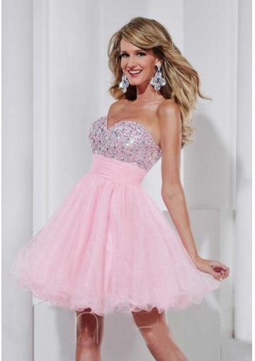 Light Pink Short Strapless Dress