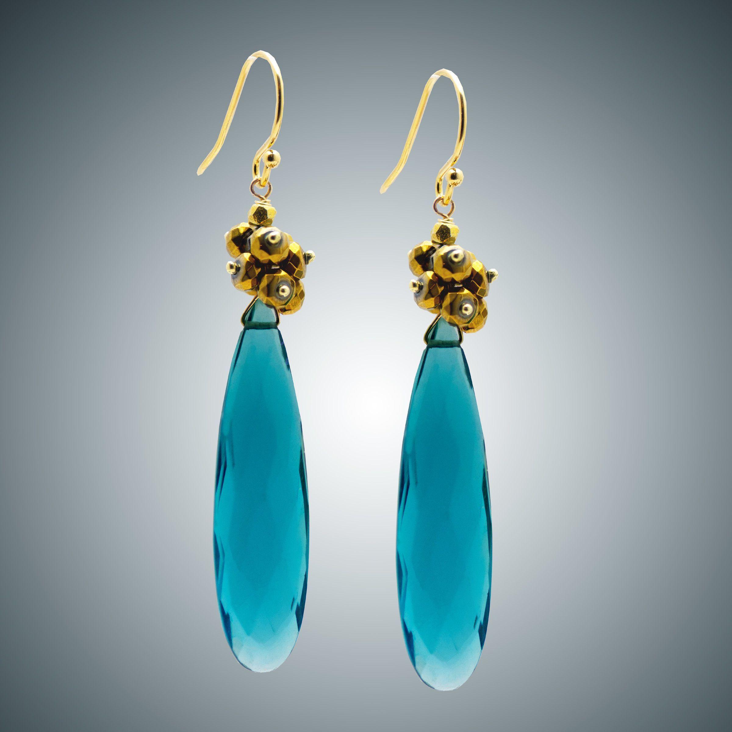 London Blue Pendant and Pyrite Earrings by Judy Bliss (Gold & Stone Earrings)   Artful Home,  #Artful #Beadedjewelryvsco #Bliss #Blue #earrings #Gold #Home #Judy #London #pendant #Pyrite #Stone