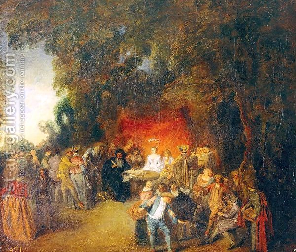 The marriage contract 1713 jean antoine watteau oil for Artist mural contract