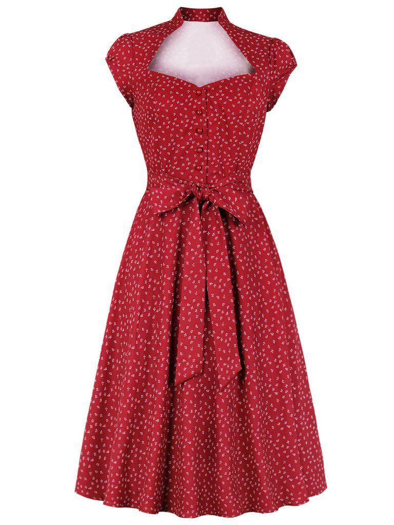 Red 1940s Floral Belted Dress Vintage Red Dress Vintage Dresses Casual 1940s Dresses [ 1024 x 768 Pixel ]