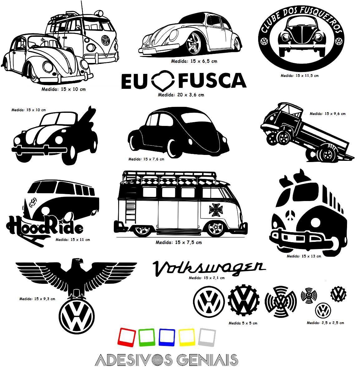 2  kit 5 adesivos carro antigo vw beetle fusca kombi