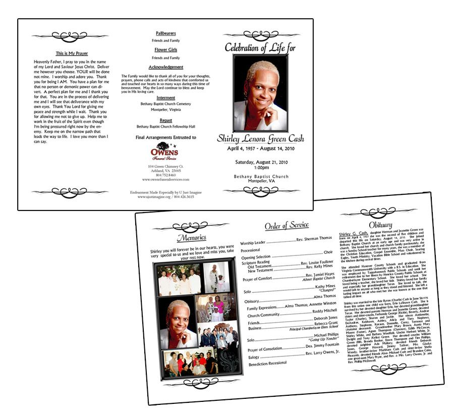 downloadable funeral bulletin covers 11x17 trifold endearment
