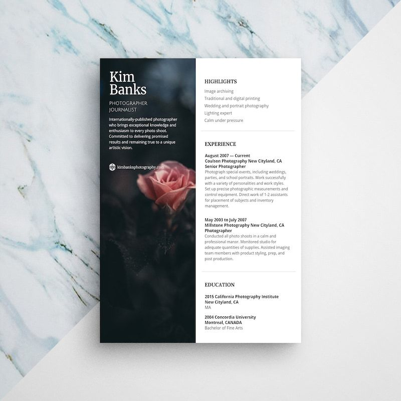 Photographer Resume With Images Photographer Resume