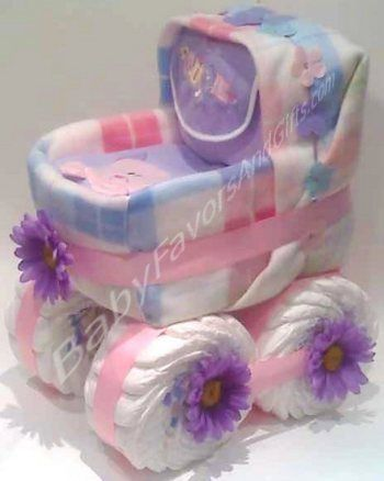 a baby shower carriage diaper cake made from two shoe boxes a blanket and lots