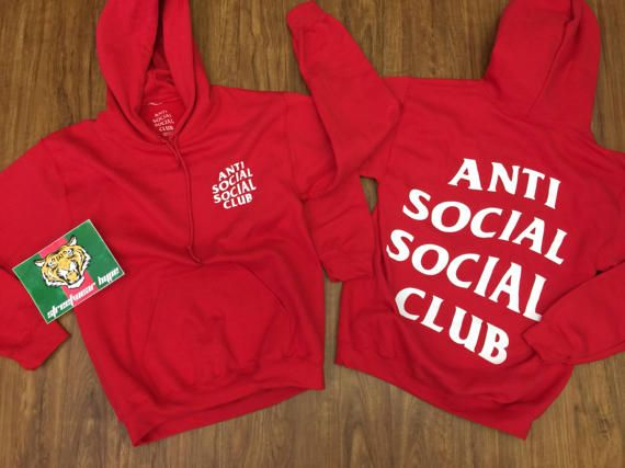 Antisocial Social Club Hoodie In Red Hoodie Assc Kanye Etsy Clothes Anti Social Social Club Red Hoodie