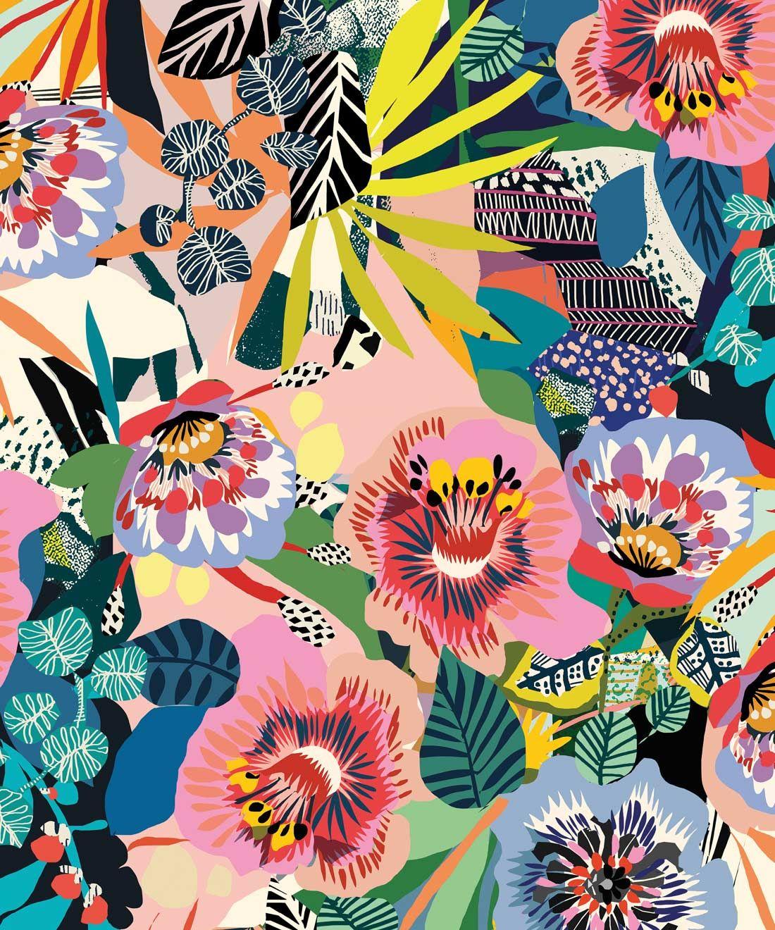 Summer Garden Large Scale Floral Wallpaper In 2020 Modern