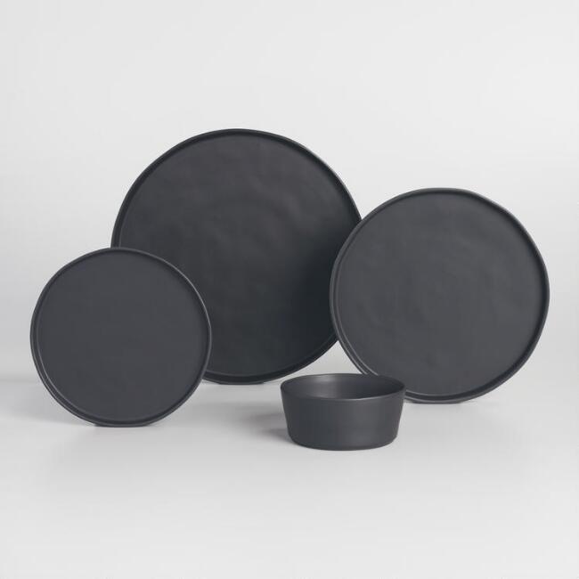 Black Organic Dinnerware V1 Plates And Bowls