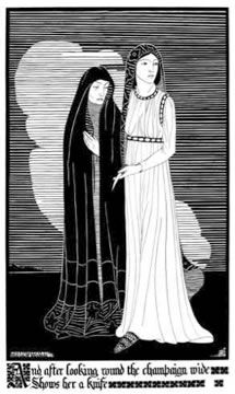 'After Looking Round', Hannah Frank (1928) Pen and ink 49 cm x 24 cm. Prints available for sale.