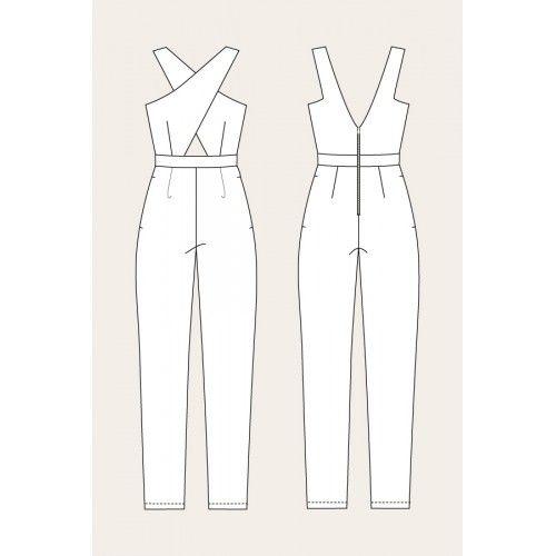 Schnittmuster: Ailakki Cross Front Jumpsuit - technische Zeichnung ...