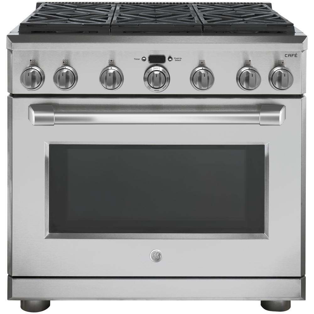 Ge Cafe 36 In 6 2 Cu Ft Gas Range With Self Cleaning