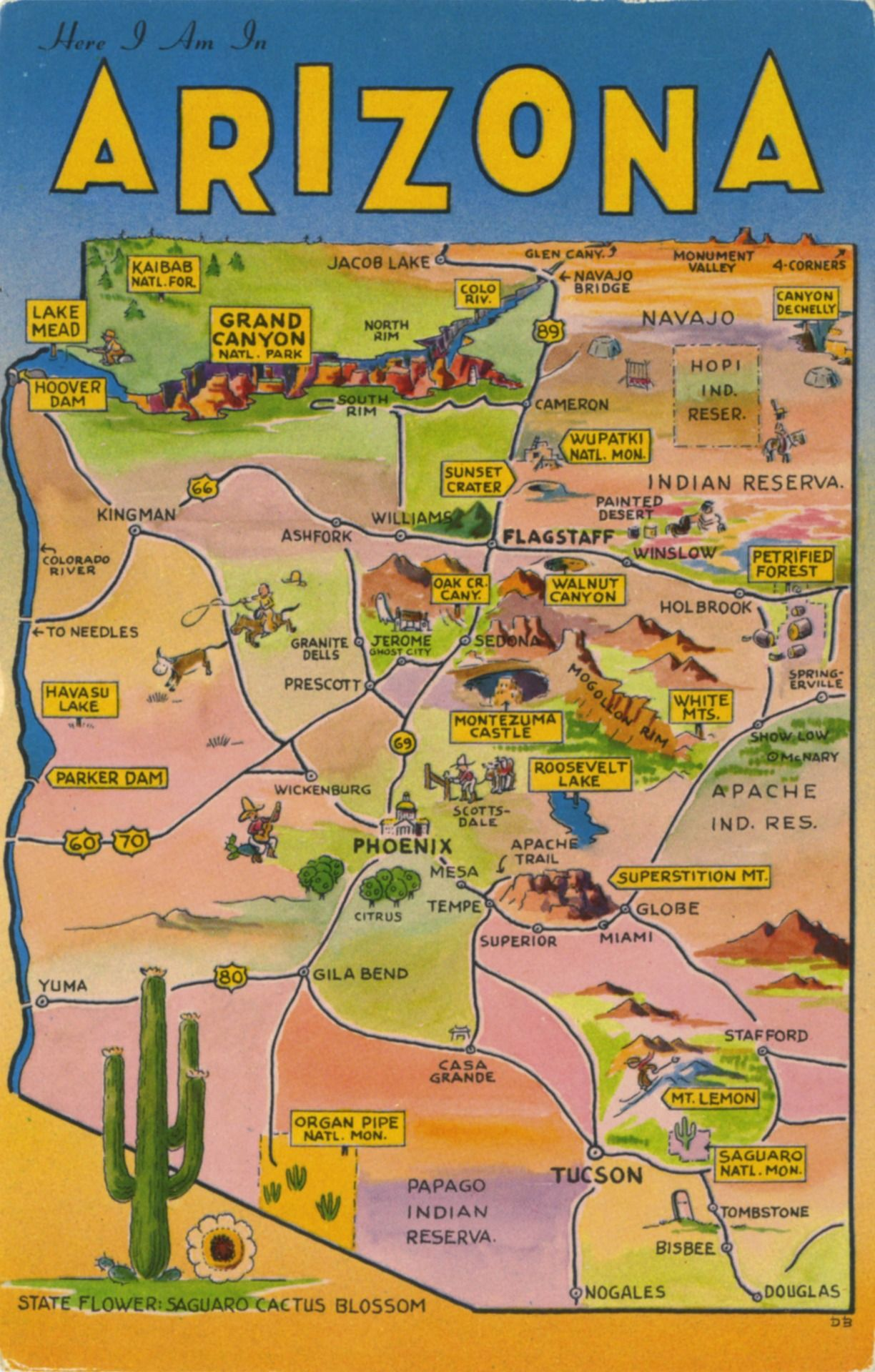 Travel Map Of Arizona Arizona Map | Arizona in 2019 | Arizona road trip, Arizona travel