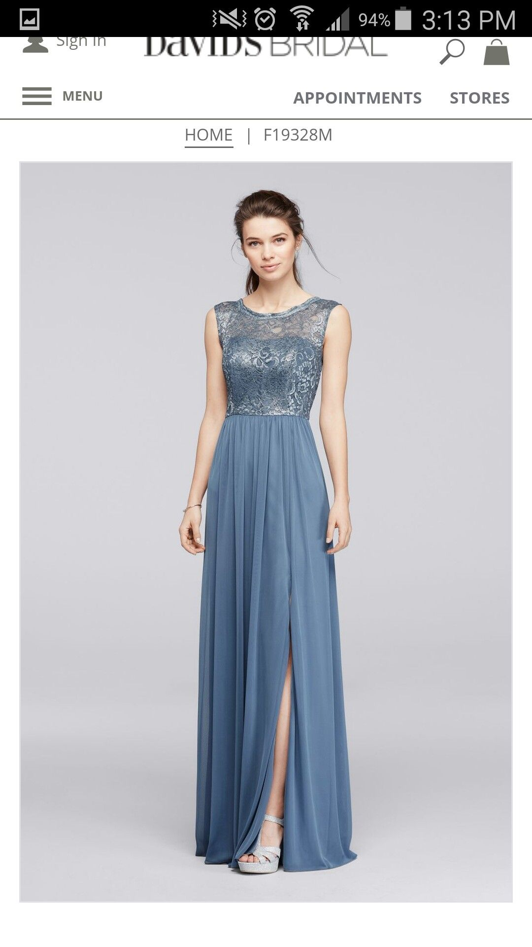 """Steel blue"" bridesmaid, David's Bridal F19328M"