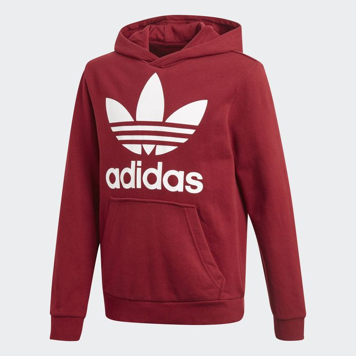 Trefoil Hoodie Burgundy Red S Kids   Adidas trefoil hoodie